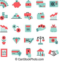 Flat Color Finance Icons Set - Flat color finance icons set...