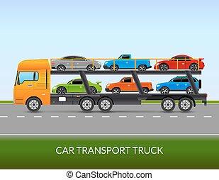 Car Transport Truck Illustration - Car transport truck on...