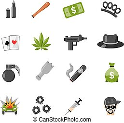 Flat Isolated Gangster Icons - Flat color isolated gangster...