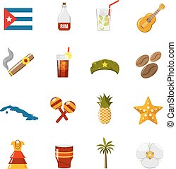 Flat Color Isolated Cuba Icons - Flat color cuba icons with...