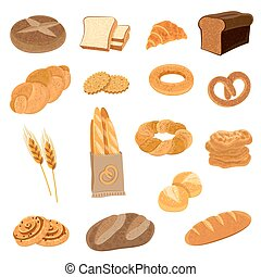 Fresh Bread Flat Icons Set - Bakery fresh bread varieties...