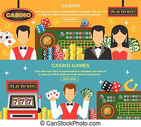 Casino And Gambling Banners Set - Casino and gambling...