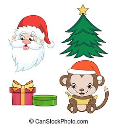 Christmas clip-art set in cartoon style Year of the monkey...