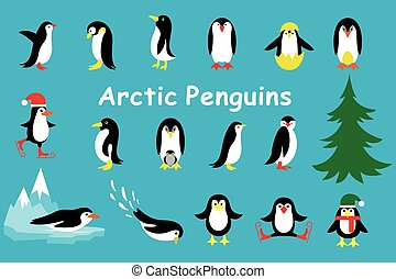 Set of cute Christmas character - penguin. Vector...