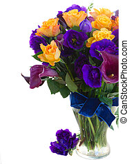 Calla lilly and eustoma flowers - Bouquet of violet calla...