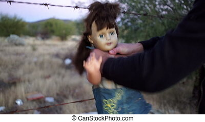 Doll Horror Man Choking - Crazed scene of a mad and psycho...