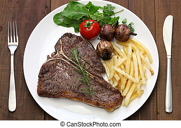 T-bone steak - t-bone steak,porterhouse steak,bistecca alla...