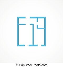 Apartment plan icon - Blue Apartment plan icon on white...