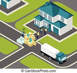 People Relocating Isometric - People relocating isometric...
