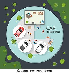 Car Dealership Top View Flat Poster - New certified cars...