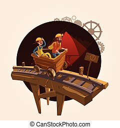 Mining cartoon concept - Mining concept with workers riding...