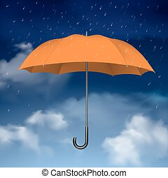 Orange Umbrella on sky with clouds background - Colorful...