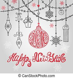 New year card with ball,garlands and lettering