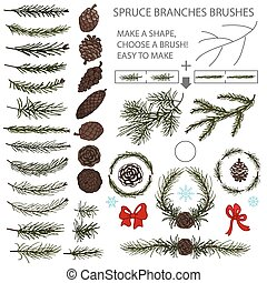 Spruce branches brushes set with Pine cones and bow - Spruce...