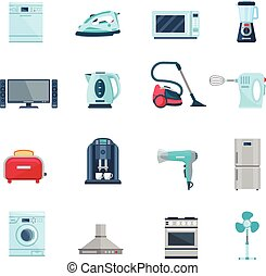 Flat Color Icons Set Of Household Appliances - Flat color...
