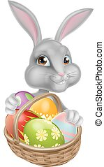 Cute Cartoon Easter Bunny - Cartoon Easter bunny peeking...