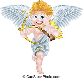 Cartoon Cupid - Cartoon valentines day cupid winged angel...