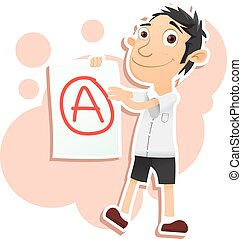 happy student showing paper with A