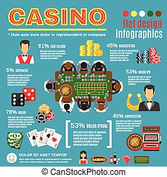 Casino Infographic Set - Casino infographic set with...