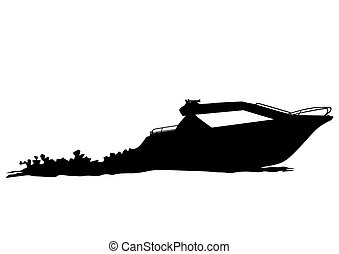 Motor ship - Silhouette of retro ship on white background