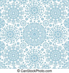 Snowflakes lace symmetry seamless pattern - Snowflakes lace...