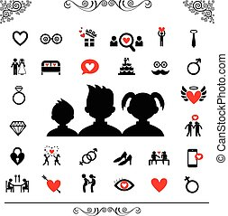wedding and valentine icon set