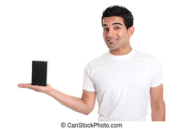 Man holding your merchandise product - A man holds your...