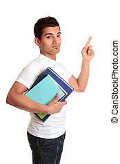 University Student Pointing his finger - A university or...