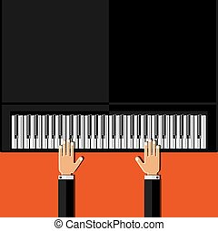 Hands playing the grand piano Flat design Vector...