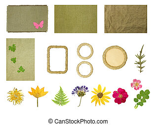 Set elements for scrapbooking Frames braided jute thread...