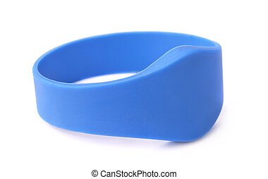 RFID bracelet - Blue silicone RFID bracelet isolated on...