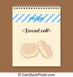 Recipe Book Bread Roll - Page for recipe book with hand...