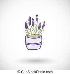 Lavender pot sketch. Hand-drawn cartoon flower icon. Doodle...