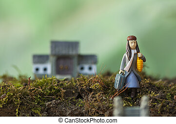 Leaving home - Woman leaving home. Searching for a new home....