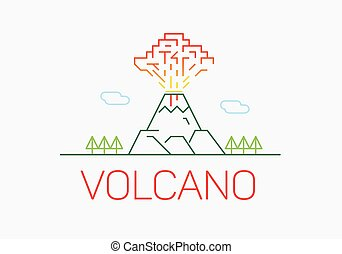 Volcano exploding thin line icon flat design logo elements -...