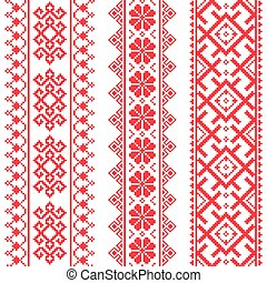 Ukrainian, Belarusian red pattern - Slavic traditional folk...