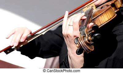 violin close-up, hands, girl playing - a violin close-up,...