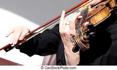 violin close-up, hands, girl playing - a violin close-up,...