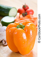 Fresh veg - Selection of fine veg on a chopping board with a...