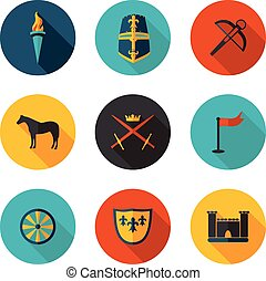 flat icons of the middle ages in vector format
