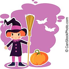 girl in witch costume for Halloween