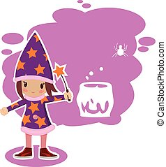 flat Halloween witch - flat illustration girl mage in vector...