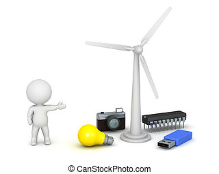 3D Character with Wind Turbine and Various Electrical...