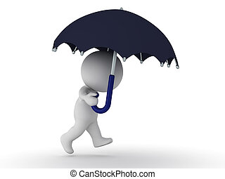 3D Character Walking with Umbrella - 3D character walking...