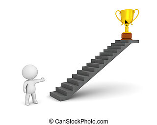 3D Character Showing Stairs and Golden Trophy - 3D character...