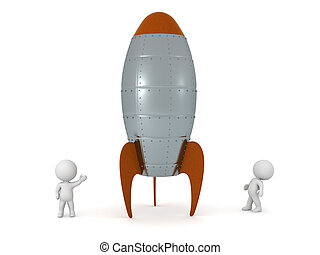 3D Characters and Large Stylized Rocket