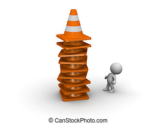 3D Character and Tall Stack of Orange Road Cones - Small 3D...