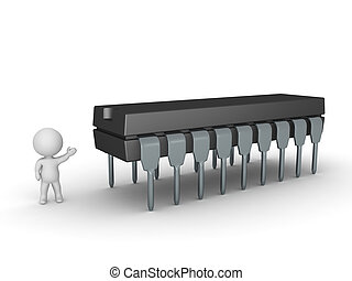 3D Character Showing Large Integrated Circuit - 3D character...