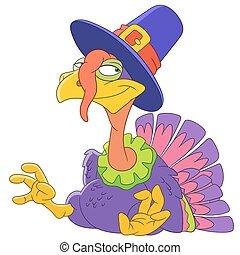 cute cartoon turkey - cute happy cartoon turkey on a...