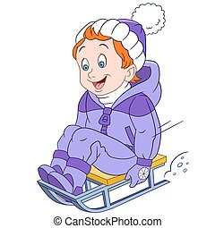 happy cartoon boy on a sled - boy sledging down on the snow,...